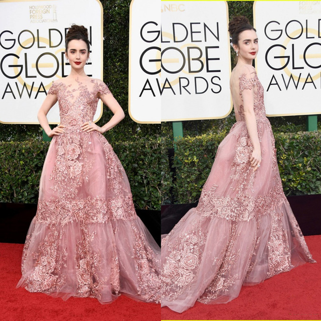 23d8371f358 Gorgeous Lily Collins 2017 Golden Globes Red Carpet Dresses A-Line Applique Beaded  Pink Evening