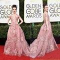 Lindo lily collins 2017 globos de ouro red carpet vestidos a linha applique frisado rosa vestidos de noite robe de soirée zm05