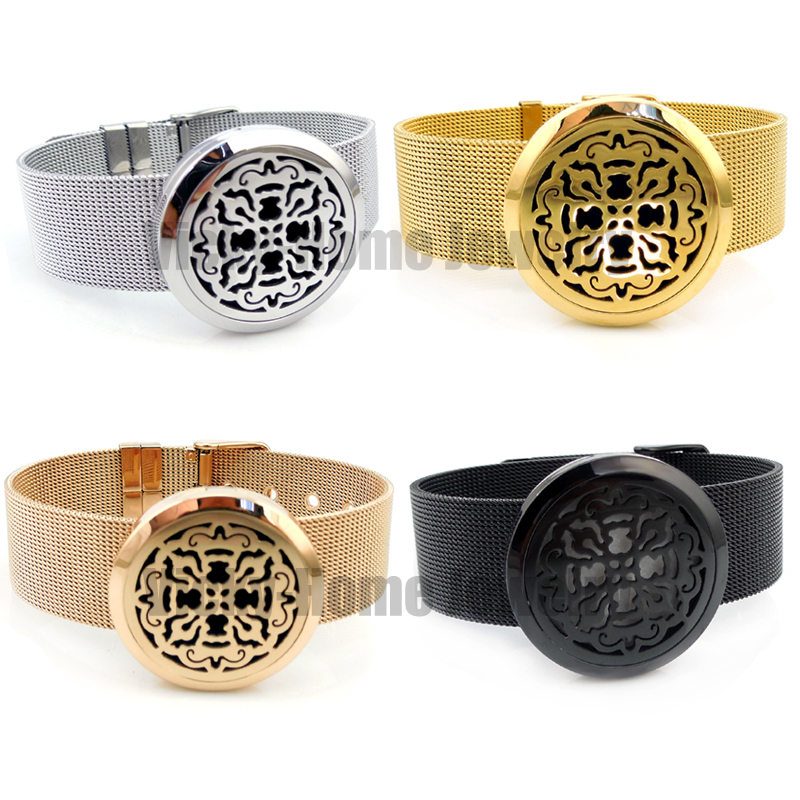 Round Silver Old World Cross (30mm) with Stainless Steel Metal Mesh Band Aromatherapy / Essential Oils Diffuser Locket Bracelet