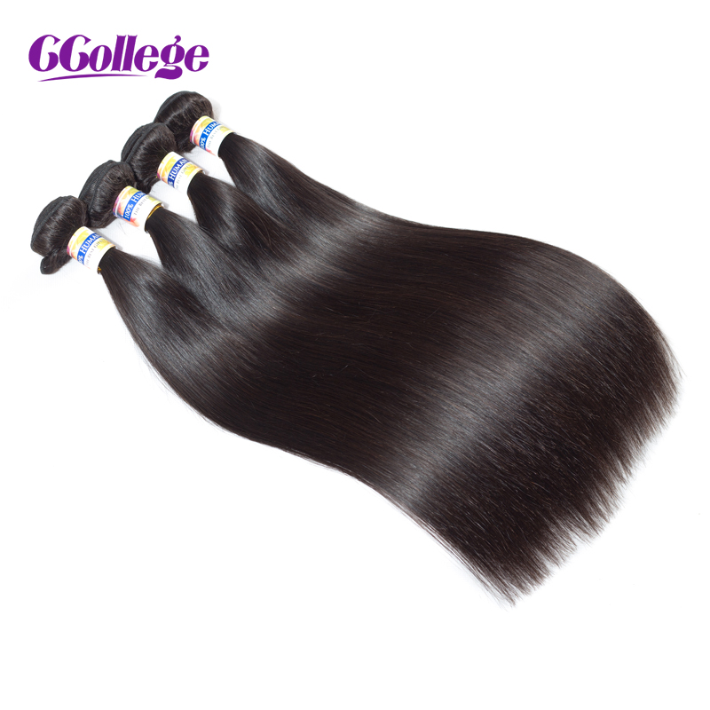 CCollege 1 Piece Human Hair Bundles Indian Remy Straight Hair Bundles Weaves Natural Color 8-26 Hair Extensions Double Wefted ...