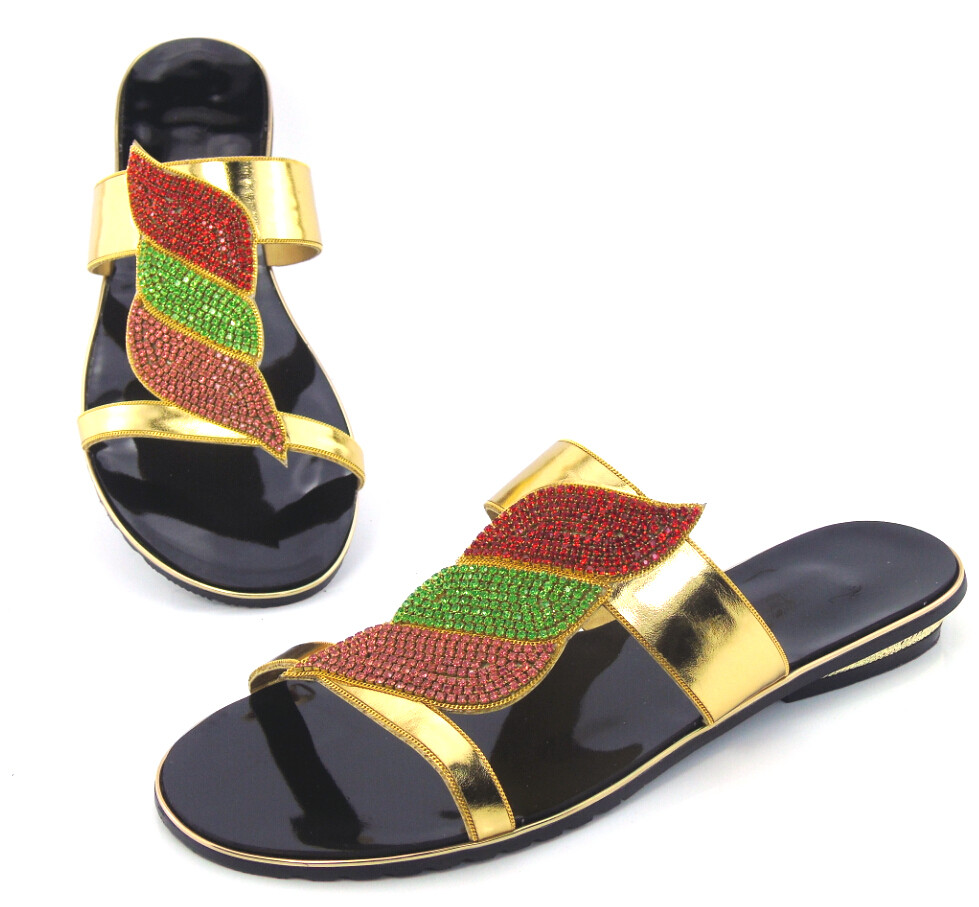 doershow doershow doerhsow Free Shipping! Beautiful Wedding Shoes top quality African Sandals With Shinning Stones gold !DD1-46 doershow new coming purple design african sandal shoes with shinning stones for fashion lady free shipping jk1 36