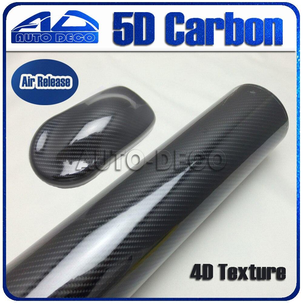 Улучшенный 5Д Глянцевая винила волокна углерода 4D текстура Оклеивание винил Водонепроницаемый наклейки с воздуха канала Размер:1.52*20 м