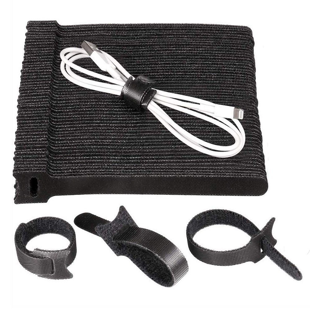 100 Pieces Adjustable Strap Reusable Ties Tidy Wrapped Hook and Loop Black P3