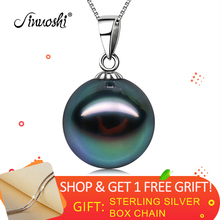 AINUOSHI 18K Gold Tahitian Black Pearl Pendant for Women Korean Fashion Tahiti Pearl Pendant with Silver Chain Necklace(Gift) недорого