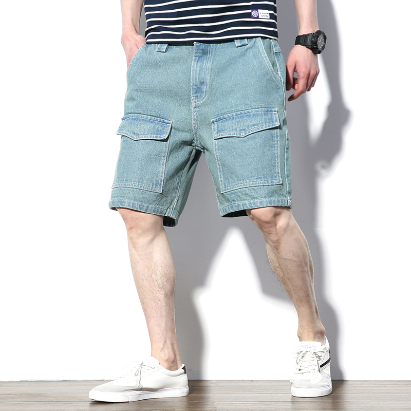2020 Summer Harajuku Casual Solid Cotton Jeans Shorts Men Short Pants Fashion Multi-Pockets Bermuda Denim Shorts Mens Plus Size
