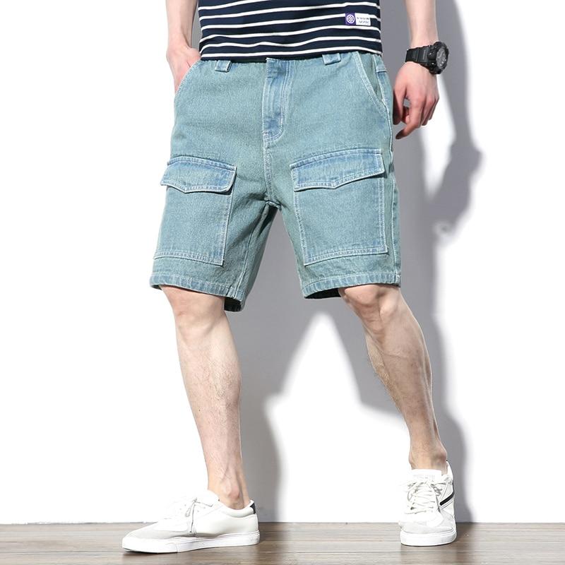 2020 Summer Harajuku Casual Solid Cotton Jeans Shorts Men Short Pants Fashion Multi-Pockets Bermuda Denim Shorts Mens Plus Size