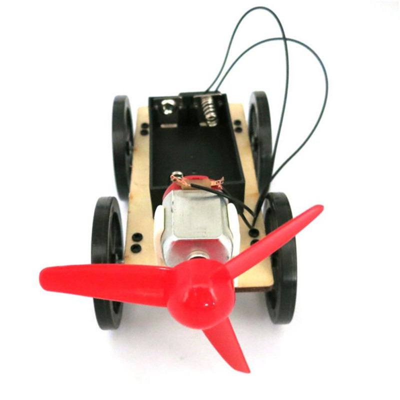 Mini Funny Wind Powered Toy DIY Car Kit Children Educational Gadget Hobby Gift