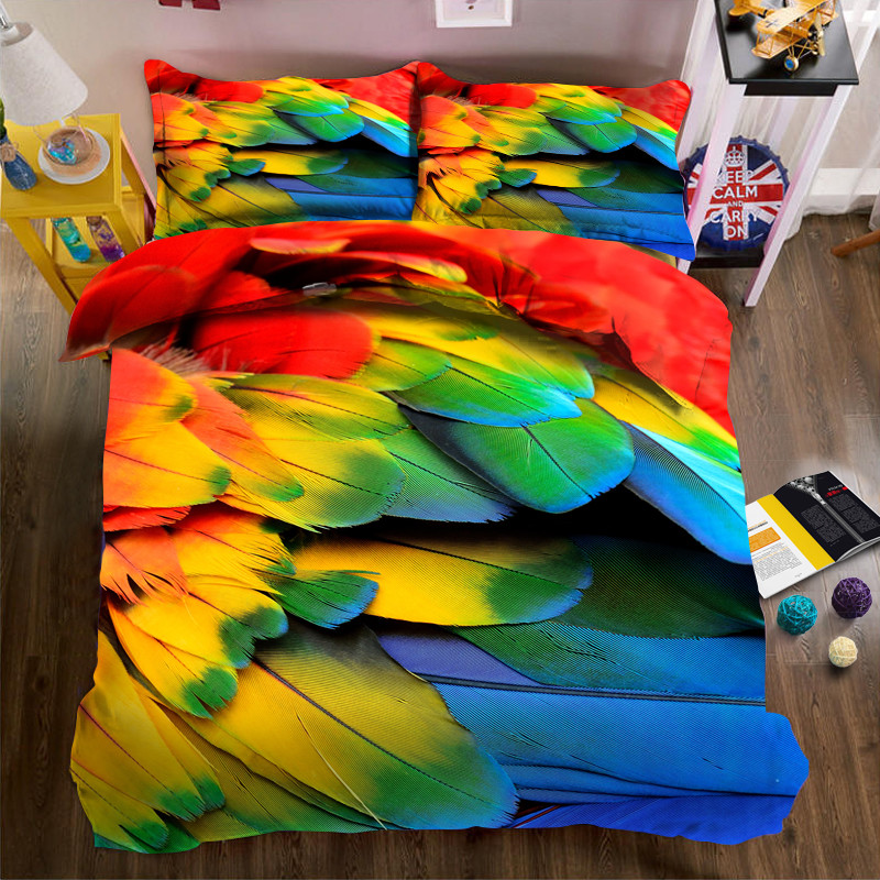 3D Bright feathers Luxury Bedding set Double King Queen size Bedsheet set Duvet cover Pillowcases3D Bright feathers Luxury Bedding set Double King Queen size Bedsheet set Duvet cover Pillowcases