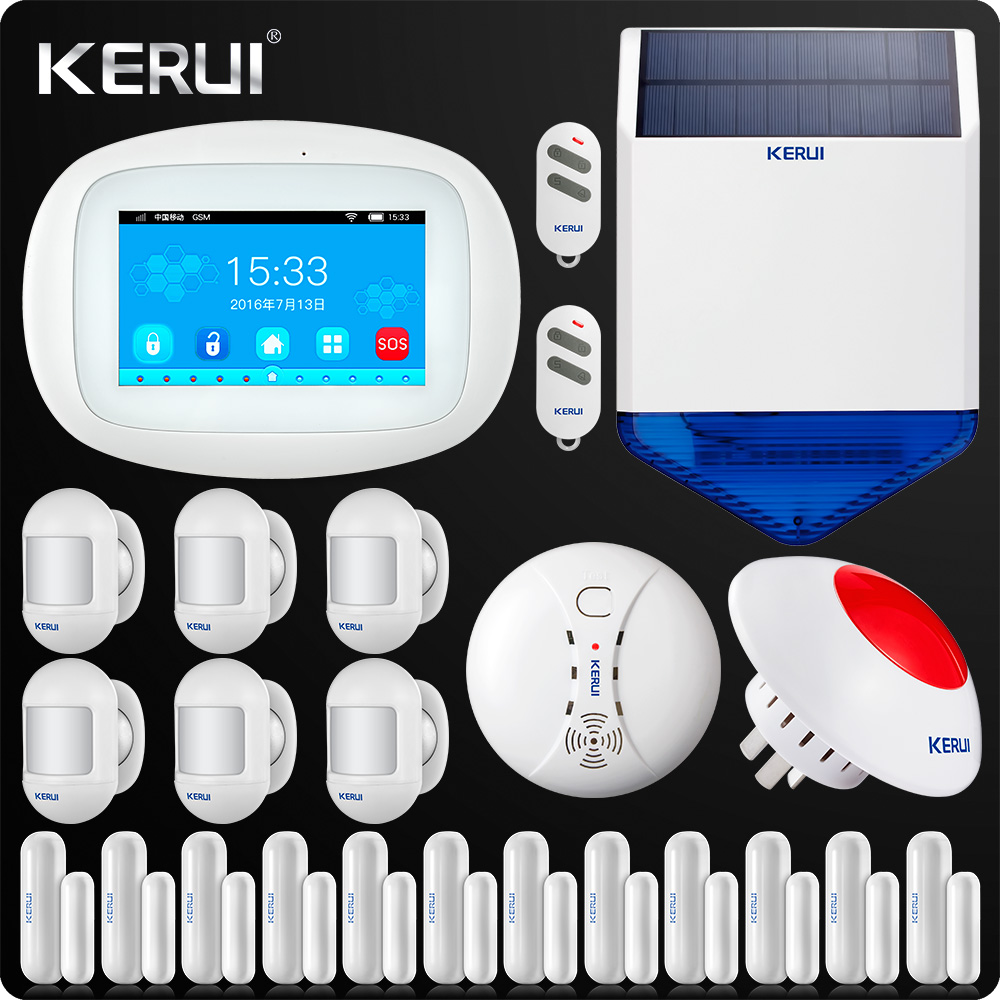 KERUI K52 WiFi Alarm System 4.3 Inch Touch Screen Wireless Security Alarm WIFI GSM Alarm System APP Control PIR Repeater