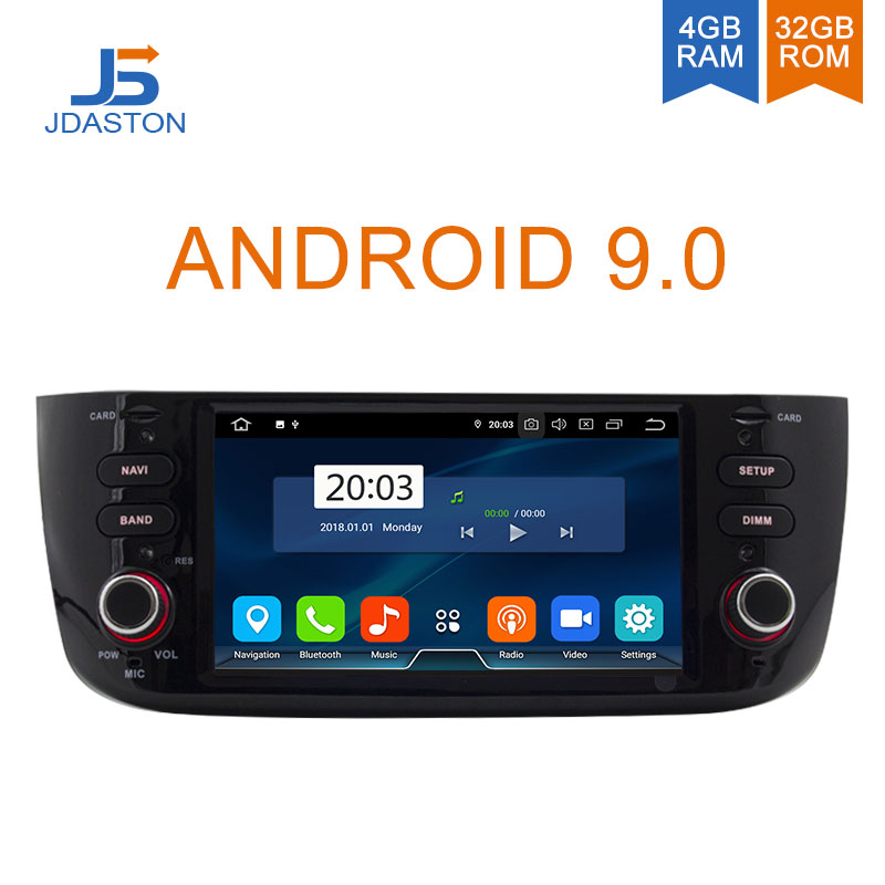 JDASTON Android 9.0 Car Multimedia Player For Fiat Abarth Punto EVO Linea 2012-2016 Octa Cores 4G+32G 1 Din Car Radio GPS Stereo