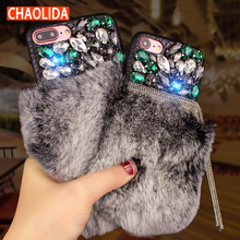 CHAOLIDA Wholesale Rhinestone and Fur Women Luxury Mobile Accessories
