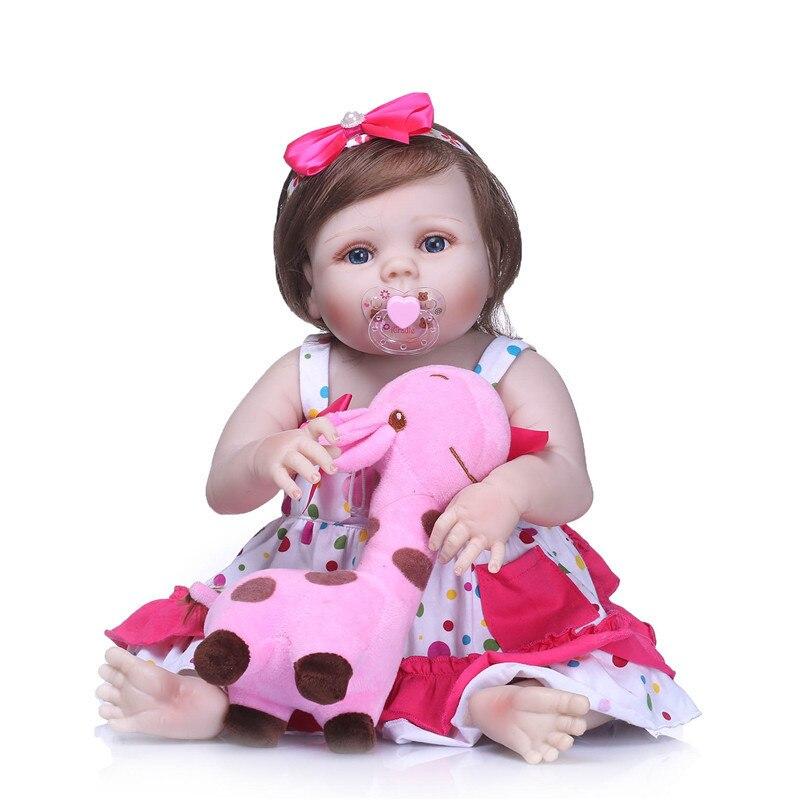 NPK 55 cm noworodka lalki realistyczne lalki BeBe Reborn całego ciała silikonowa lalka prezent na Boże Narodzenie dla dziewcząt z pluszowa żyrafa zabawki w Lalki od Zabawki i hobby na  Grupa 1