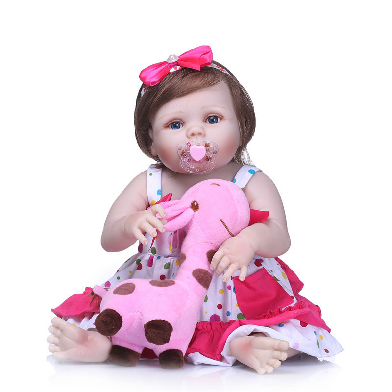 NPK 55cm Newborn Dolls Lifelike Bebe Reborn Dolls Full Body Silicone Baby Doll Christmas Gift For Girls with Plush Giraffe Toy karinluna 2018 plus size 30 50 pointed toe square heels add fur warm winter boots woman shoes woman ankle boots female