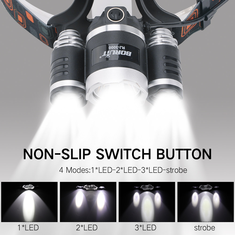 cheapest BORUiT RJ-2190 XML T6 LED Headlamp 3-Mode Zoom Headlight High Power 3000LM Head Torch 18650 Rechargeable Hunting Flashlight