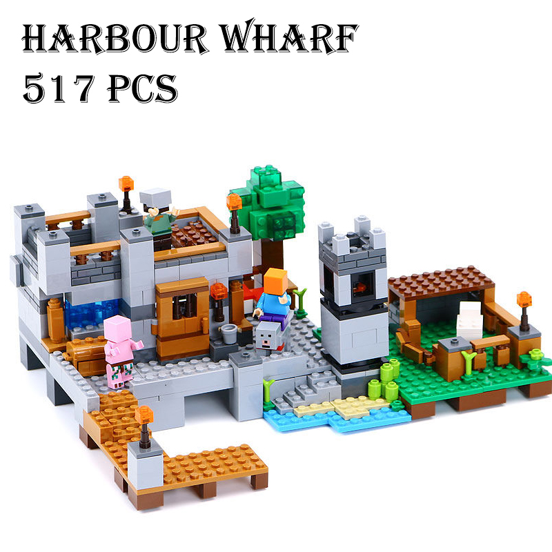 Model building kits compatible with lego 79287 18013 my worlds MineCraft My Harbor Dock Educational toys hobbies for children gift enmex creative style lady wristwatch gloden 3d vortex face creative design silicone band luminous brief casual quartz watch
