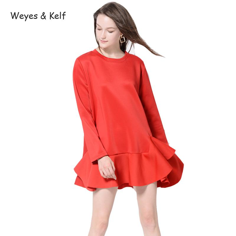 Weyes & Kelf Simple Space Cotton Full Sleeve Titching Beautiful Ruffles Dress Women Spring Red/black Mini Women Party Dresses