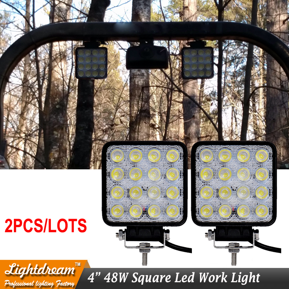 48W 4inch Square LED Work Light Flood Spot 12V Driving Lamp for Car Truck Trailer SUV Boat 12V 24V 4WD Led Offroad Light 2pc/lot atreus 50w 7 led spot light with remote control searching lights for jeep suv truck hunting boat camp lamp bulb car accessories