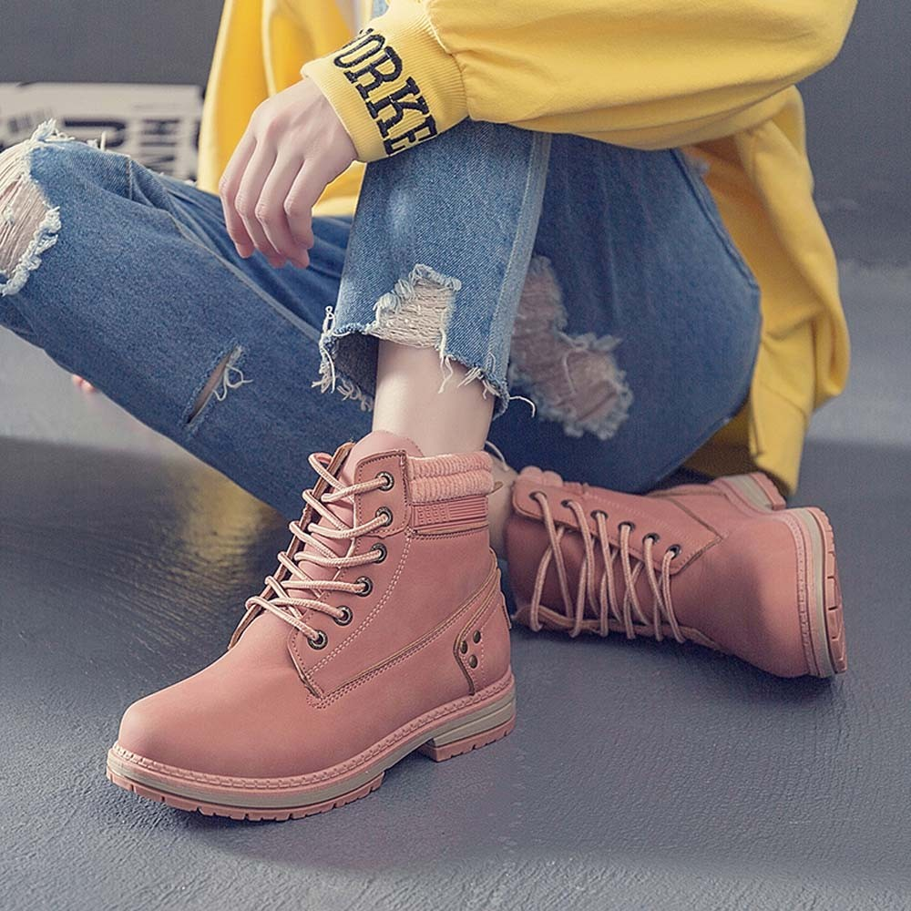 Women Boots Solid Lace Up Casual Ankle Boots Round Toe Shoes Student Snow Boots Classic Winter Warm Ladies Shoes T## 31