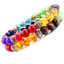 7 Исцеление чакры Йога камни для рейки баланс бисера браслет для женщин ювелирные изделия