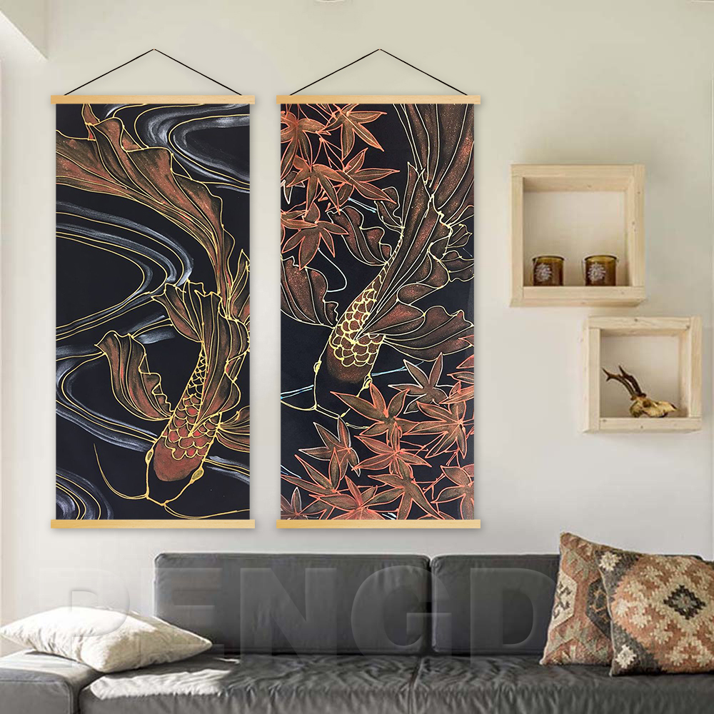 Canvas Print Modern Butterfly Koi Carp Maple Leaf Painting Solid Wood Hanging Scrolls Wall Artwork Home Living Room Decoration