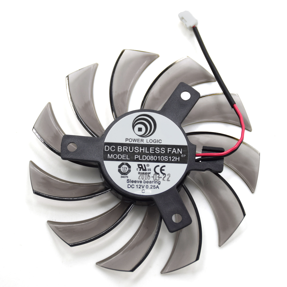 75MM PLD08010S12H 2Pin 3Pin HD 6850 Cooler Fan For NVIDIA GeForce GTX 560 460 Ti R7 260x R270X MSI 560 Ti Graphics Video Card