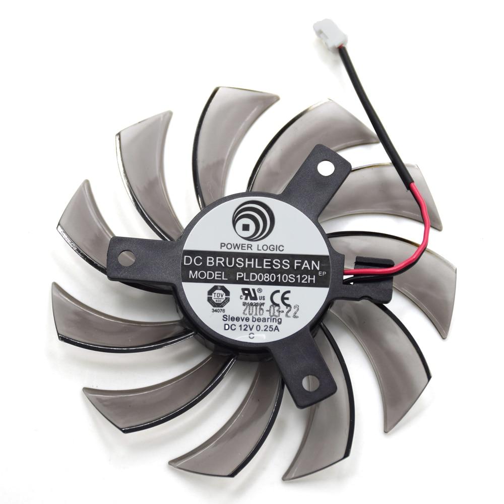 75mm PLD08010S12H 2Pin 3Pin HD 6850 Refroidisseur Ventilateur Pour NVIDIA GeForce GTX 560 460 Ti R7 260x R270X MSI 560 Ti Carte Graphique Vidéo