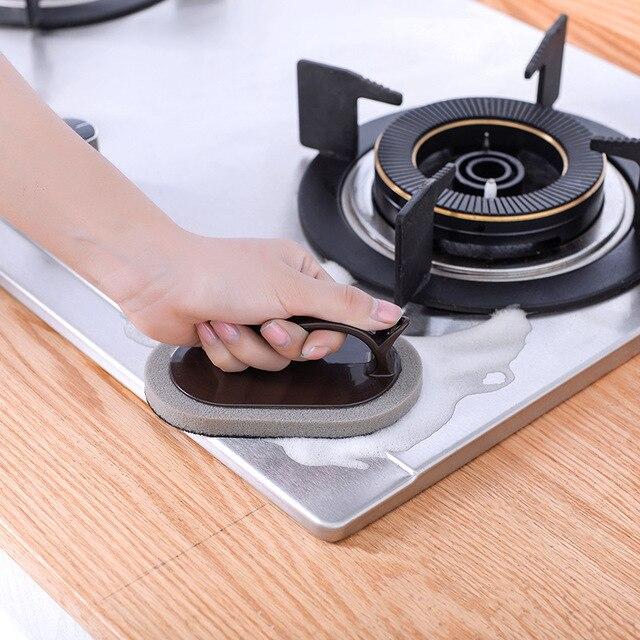 1 pc 주방 도구 핸들 청소 브러시 scourer 팬 접시 그릇 냄비 브러시 오염 제거 가정용 매직 스폰지 청소 도구
