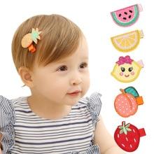 лучшая цена 6pcs/lot Girls Fruits Design Clip Hair Clips Children Princess Embroidery Hairpins Clips Handmade Hairpins Cute Kids Headdress