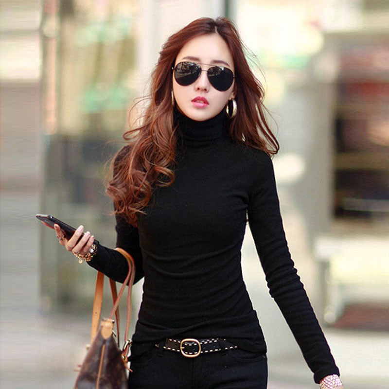 Fashion Solid Colors Women T-shirts Long Sleeve Slim Turtle Neck Shirts Women Cotton Stretch Tops Chemisier