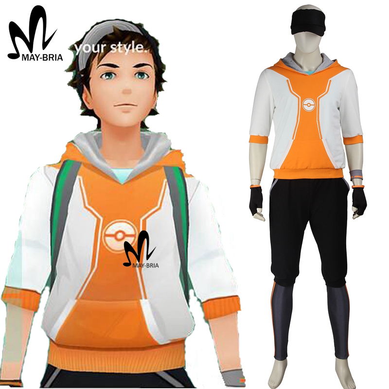 3 designs color Pokemon Go cosplay costume newest game Pokemon GO shirt maleTrainer costume Halloween costumes for adult men