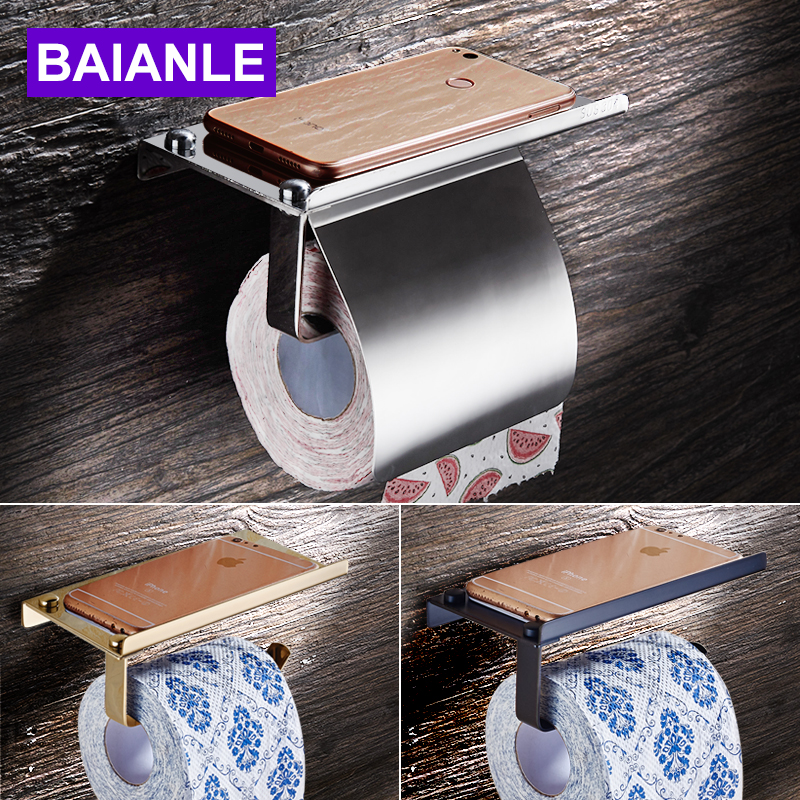 Baianle Toilet Roll Paper Holder Wall Mount Stainless Steel Bathroom Tissue holder with Mobile Phone Storage Shelf Rack everso wall mounted toilet paper holder with shelf stainless steel toilet roll paper holder tissue holder bathroom accessories