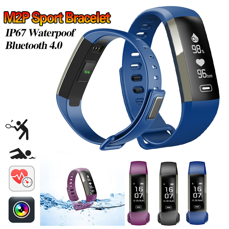 Newest M2P Smart Wristband Bracelet All Compatible OLED Touchpad Sleep Monitor blood oxygen Heart Rate shake