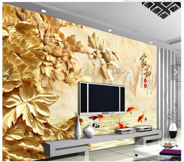 wallpaper 3d Home Decoration Three dimensional wood carving peony ...