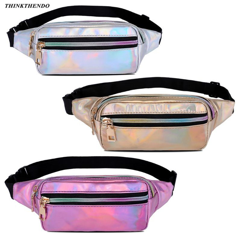 THINKTHENDO 2019 New Fashion PU Laser Holographic Fanny Pack Waterproof Bum Bag Travel Hip Bags For Womens Girls
