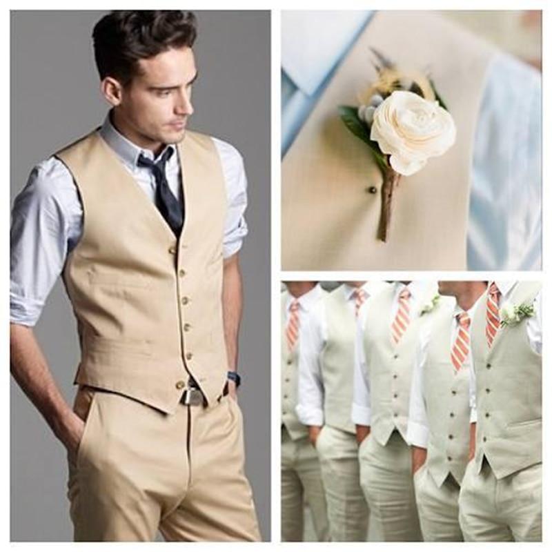 New Groom Vests Khaki Groom men suit Best Man Vest Custom Made Six Buttons Wedding Prom Dinner Waistcoat mens suits 2017
