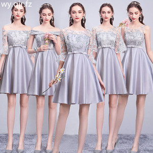 ASL53#Gray Champagne Pink Bridesmaid Dresses short lace up New Sister Group Marriage Banquet Graduation Dress girls wholesale(China)