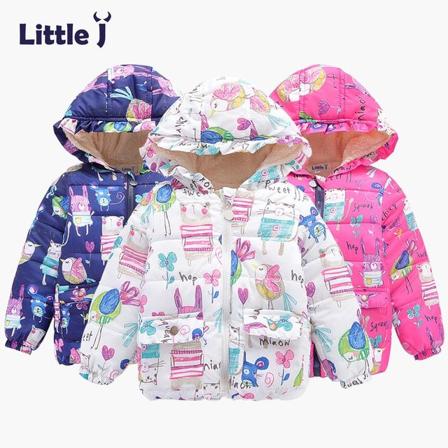 d5e72a013 Little J Kids Boys Girls Hooded Floral Coat Baby Cartoon Animal ...