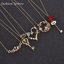 fashion lychee Japan Sailor Moon Faux Crystal Gold Color Cartoon Necklace Moon Heart Key Pendant Cosplay Necklace Women Gift