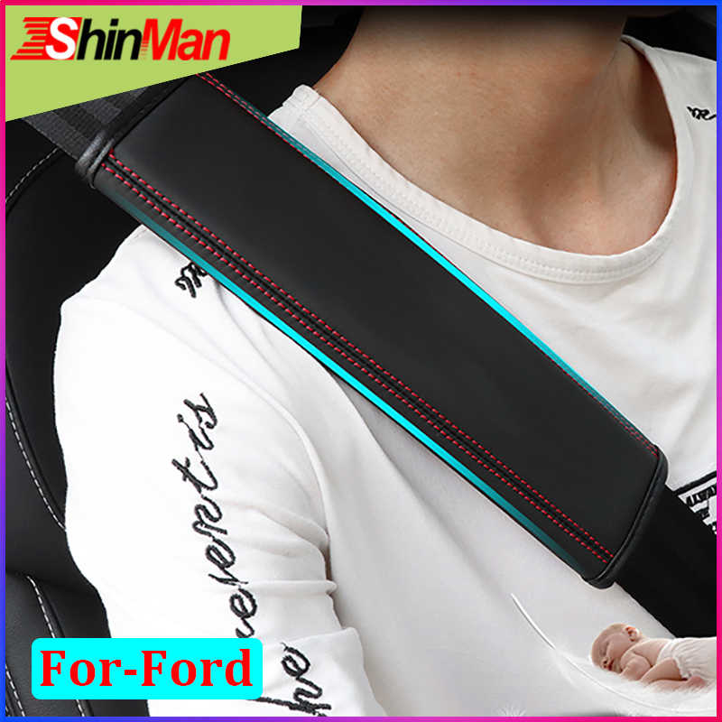 ShinMan 2x Leather CAR Seat belt pad Seat belt shoulder pad Safety belt pad For Ford Focus Fiesta Mustang Edge Escape Ranger