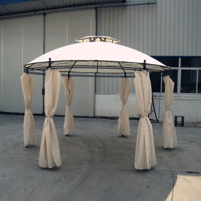 Dia 3.5 meter steel outdoor gazebo iron patio pavilion garden tent canopy with gauze and sidewalls & Dia 3.5 meter steel outdoor gazebo iron patio pavilion garden tent ...