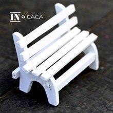 Vintage boda artesanía de madera blanco Banco silla casa estante decoración estatuilla figuritas de juguete ornamentos película foto Accesorios
