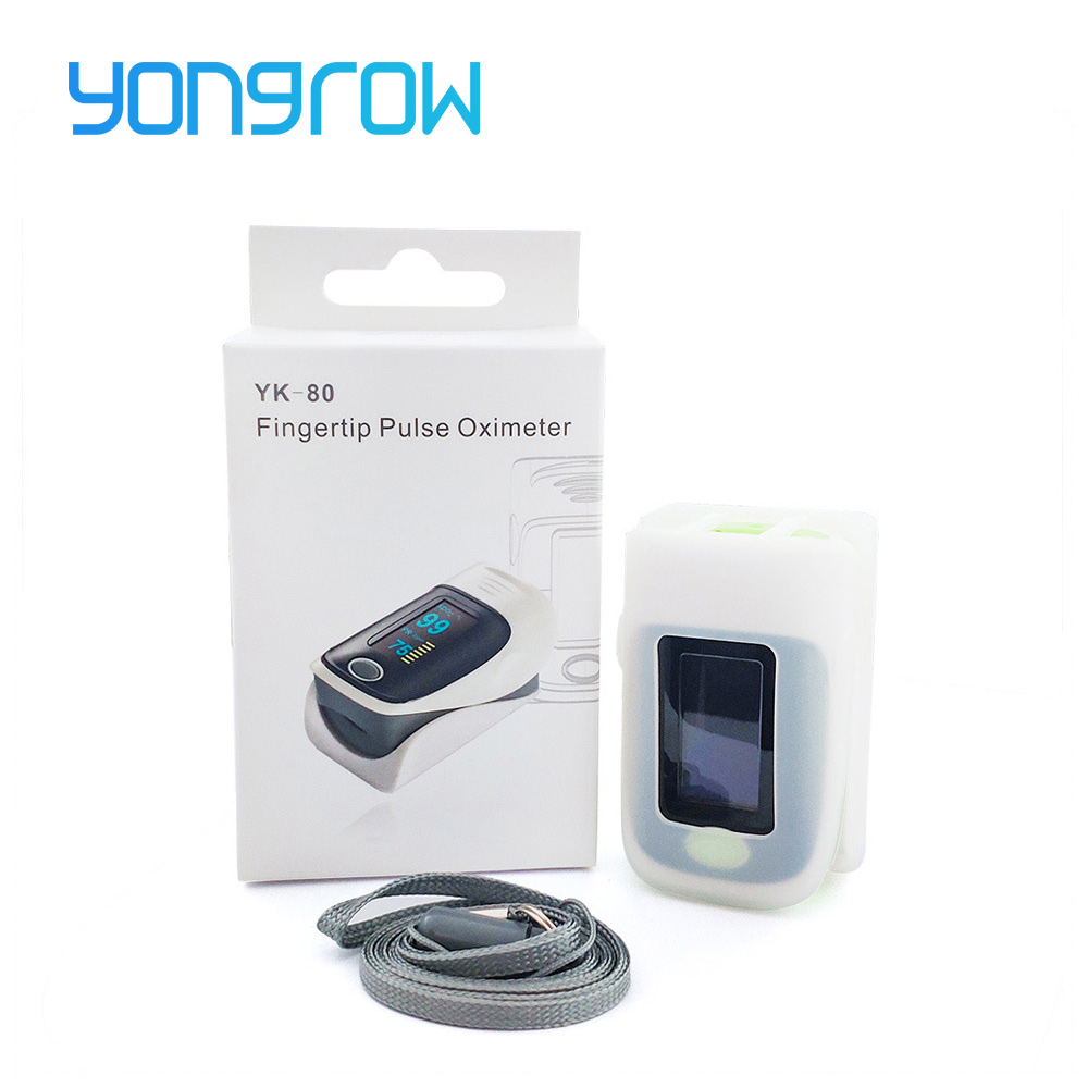 Yongrow Medical Pulse Oximeter Fingertip Pulse Oximeter og Silikone Beskyttelseshætte Blod Oxygen Saturation Meter SPO2 PR CE