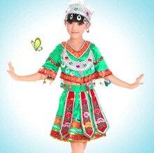 Chino tradicional traje de la danza para niños ropa traje tradicional chino miao hmong ropa con tocado Con Sombrero