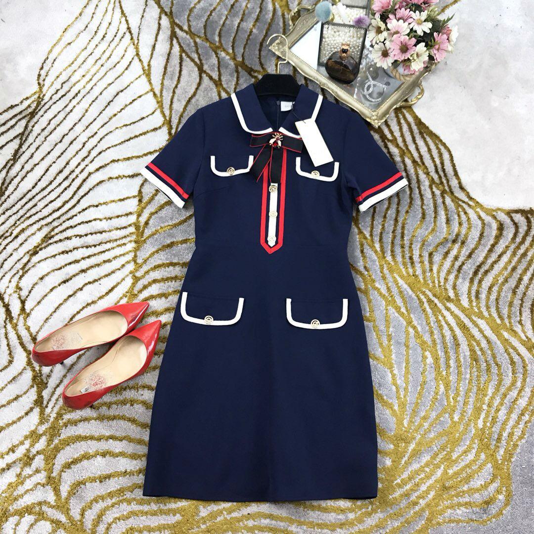 2019 新しいレトロなコントラストボタンハイウエストファッション Tシャツドレス女性送料無料  グループ上の レディース衣服 からの ドレス の中 1