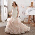 New Arrival Luxury vestido de novia with Appliques Custom Organza Ruffled Mermaid Wedding Dress