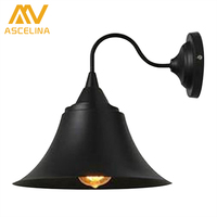 Hot Sale Vintage Industrial Rustic Color Horn Shape Wrought Iron Wall Lamp For Coffee Shop Decoration