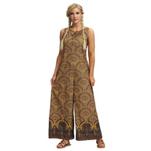 New Fashion Bohemian Women Jumpsuit Sexy Sleeveless Rompers Wide Leg B