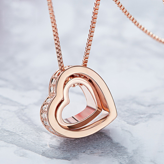 BAFFIN Classic Double Hearts Pendant Necklace Crystals From