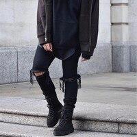 ZHIJUE 2017 Zipper Broken Hole Stretch Jeans NEW Hip Hop Icon Fear Of God Fog Men