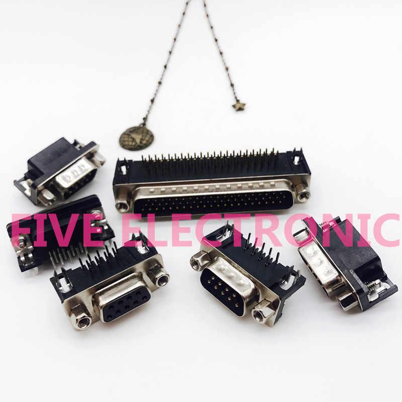 Plaat-Insert gelast DR9 DR15 DR25 DR37 DB Mannelijke & Vrouwelijke Connector. Stitch Bonder, VGA Socket 90 graden gebogen pins
